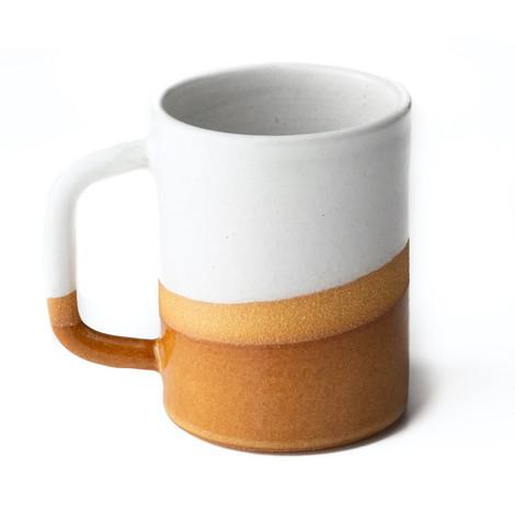 orange and cream ceramic mug