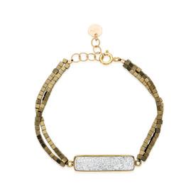 Silver Druzy and Gold Bracelet