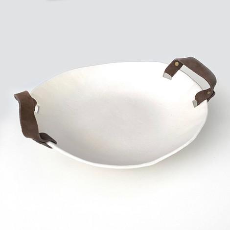white ceramic shallow dish