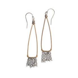 Bronze and Silver Fringe Earrings