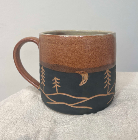 Etched Ceramic Brown/Black Mug with Mountains and Trees