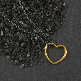 Gold Open Heart Necklace on Black Chain