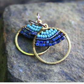 Vibrant Blue Beaded Earrings