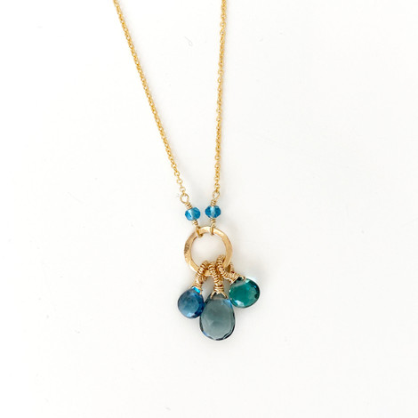 Green and blue gemstone necklace