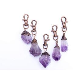 Purple Raw Crystal Keychain