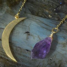 brass crescent moon earrings