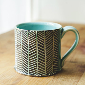 Chevron Mug - Black and Turquoise