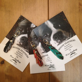 Leather Dog Collar Charm - Feather