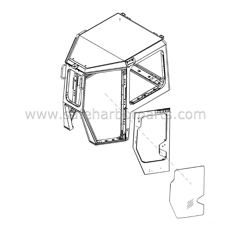 17a-z11-1263 dozer left door glass
