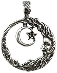 Wicca Wisdom Amulet Pendant Necklace Crescent Moon
