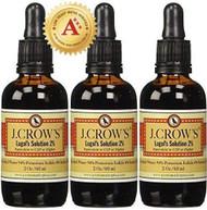 J.CROW'S Lugol's Solution of Iodine 2% 2 oz Three Pack (3 Bottles)