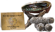 Smudging Kit 3 California White Sage Smudging Wands (Salvia Apiana) with Beautiful Natural 5-6 in Abalone Shell and Natural Wooden Cobra Tripod Stand