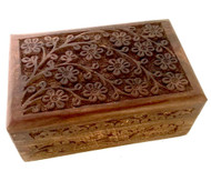 Floral Carved Handmade Wooden Jewelry Box 4 x 6 inches