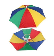 12 Pack Rainbow Umbrella Hat Cap Multicolor Hands Free with Head Strap for Beach