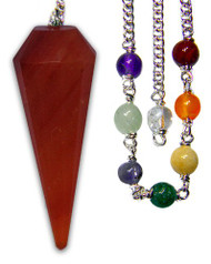 Starlinks Carnelian Chakra Pendulum with Satin Bag and Instruction Leaflet