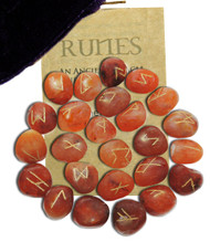 Starlinks Carnelian Gemstone Runes with Velvet Pouch and Instruction Pamphlet