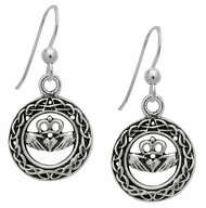 Starlinks Silver Celtic Claddagh Earrings for Love and Loyalty