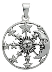 Starlinks Silver Sun, Moon and Stars Pendant for Hope