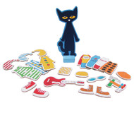KIDS PREFERRED Pete The Cat Wooden Magnetic Dress Up Doll Set - 34 Pieces