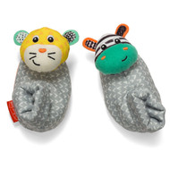 Infantino Foot Rattles, Zebra and Tiger, Zebra/Tiger