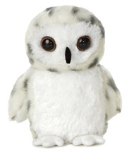 "Aurora World 8"" Snowy Owl Toy, Small, White Plush Toy Animal"