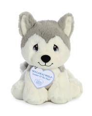 """Aurora Precious Moments 8.5"""" Malakai Wolf Plush Toy Animal"""
