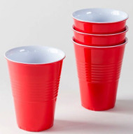 """""""What Is It?"""" LARGER SIZE 18 Ounce, Reusable Red Melamine Cups / Glasses, Set of 4"""