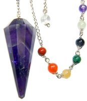 Amethyst 12-Facet Chakra Pendulum for Channeling Intuition with Satin Pouch & Instruction Pamphlet