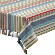 "Design Imports Mediterranean Stripe Tablecloth, 52"" x 52"""