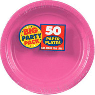 Amscan Big Party Pack 50 Count Paper Dessert Plates, 7-Inch, Bright Pink