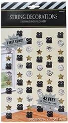Amscan Hollywood Movie Themed Party String Decorations (Pack of 6), Multicolor, 7'