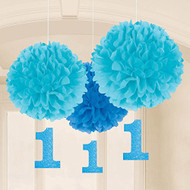 Amscan 1st Birthday Fluffy Decorations with Danglers, Large, Blue