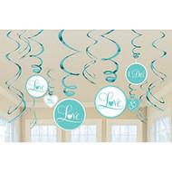 Amscan Value Pack Lovely Robin's Egg Foil Swirl Wedding Party Decorations, Blue