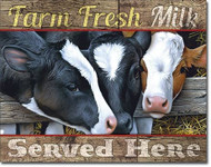 Farm Fresh Milk Tin Sign 16 x 13in