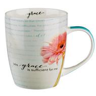 """His Grace Is Sufficient"" Inspirational Mug - 2 Corinthians 12:9-10"