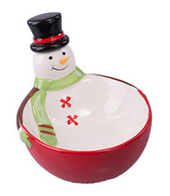 Christmas Ceramic Snowman Bowl with Hat Spreading Knife