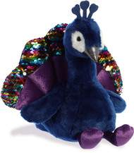 """Aurora - Valentine Items - 10"""" Shimmers Peacock Plush Toy Animal"""