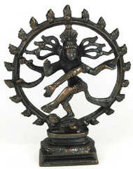 Large Antiqued Bronze Shiva Dancing Statue