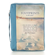 """""""Footprints"""" Poem Printed Blue Poly-Canvas Bible / Book Cover (Large)"""