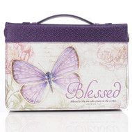"Purple Botanic Butterfly Blessings ""Blessed"" Bible / Book Cover - Jeremiah 17:7 (Large)"