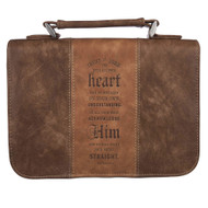 Christian Art Gifts Brown Faux Leather Classic Bible Cover | Trust in The Lord - Proverbs 3:5-6 Two-Tone Panel | Large Bible Case Book Cover for Men/Women