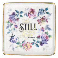 Christian Art Gifts Ceramic Square Ring Dish Jewelry Holder | Be Still and Know ? Psalm 46:10 | Bible Verse Trinket Tray Dish for Jewelry and Accessories