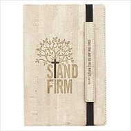 Christian Art Gifts Tan Faux Leather | Stand Firm - Luke 21:19 | Flexcover Inspirational Notebook w/Elastic Closure 160 Dot Grid Pages w/Scripture, 5.8 x 8.5 Inches