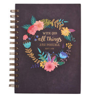 Christian Art Gifts Large Hardcover Notebook/Journal | With God All Things Are Possible ? Mathew 19:26 Bible Verse | Floral Inspirational Wire Bound Spiral Notebook w/192 Lined Pages, 6? x 8.25?