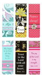 """Christian Art Gifts Set of 6 Hope Trust Joy Inspirational Magnetic Bible Verse Bookmark with Scripture, Size Small 2.25"""" x .75"""""""
