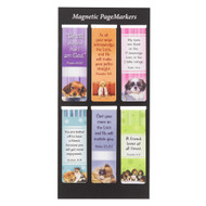 """Christian Art Gifts Set of 6 Puppy Faces (Style #2) Inspirational Magnetic Bible Verse Bookmark, Size Small 2.25"""" x .75"""""""