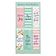 """Christian Art Gifts Set of 6 Choose Joy Be Kind Just Believe Inspirational Magnetic Bookmark, Sparkle Collection, Size Small 2.25"""" x .75"""""""
