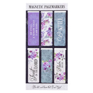 """Christian Art Gifts Set of 6 Be Still and Know - Psalm 46:10 Purple Roses Inspirational Magnetic Bible Verse Bookmark with Scripture, Size Small 2.25"""" x .75"""""""