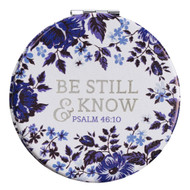 Be Still and Know Folding Compact Mirror 2x Magnification Ultra Portable for Purses Travel - Psalm 46:10 Bible Verse, Inspirational Gift Women (Be Still & Know)