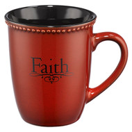 Christian Art Gifts Paprika Red Stoneware Coffee/Tea Mug | Faith ? 1 Peter 1:21 Bible Verse | Inspirational Coffee/Tea Cup for Men and Women, 13 Ounce